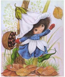 Autumn - picking chestnuts